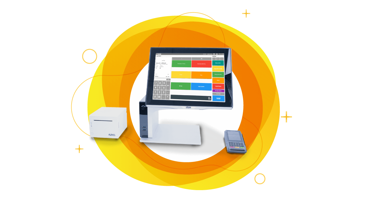 Cloud POS system with desktop, printer and wireless credit card machine