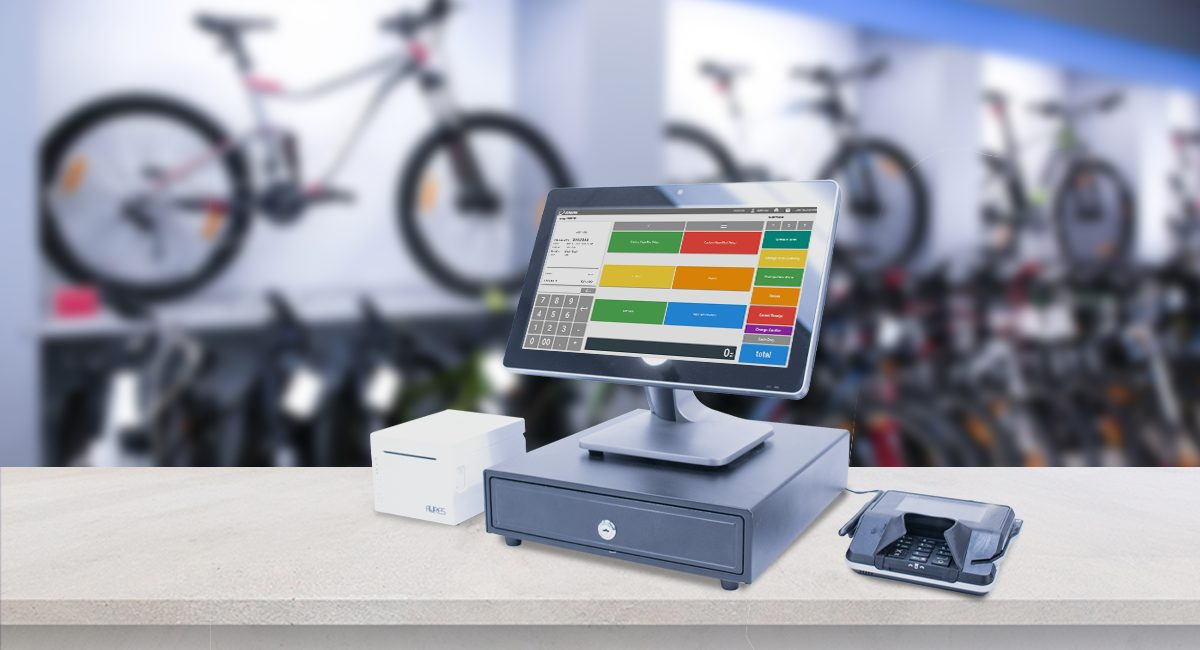 POS terminal on a counter in a bike shop
