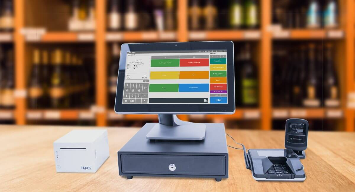 POS desktop and hardware in a wine shop