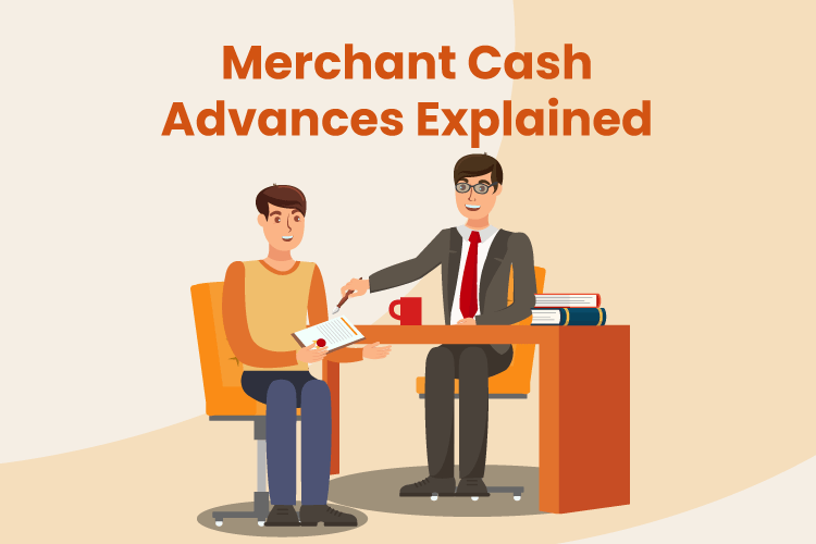 Illustration of business owner getting a merchant cash advance