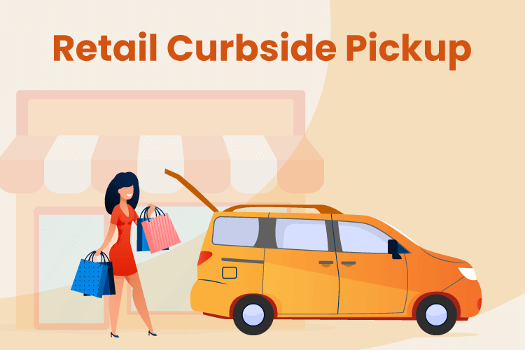 Illustration of a woman getting in her car after retrieving her products from a retail curbside pickup
