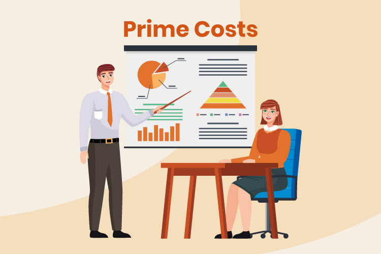 Two business owners discuss retail prime costs with charts and graphs