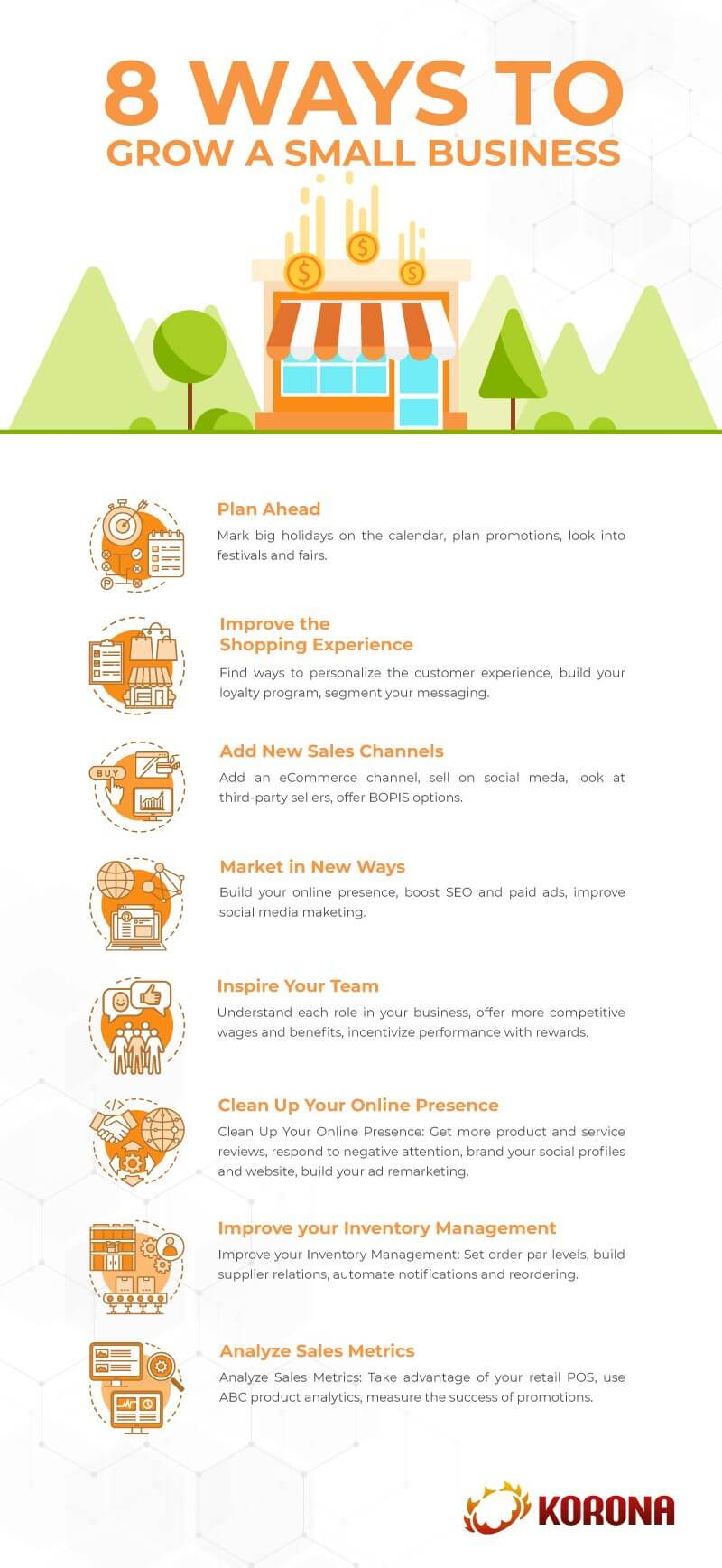 An infograph listing the 8 ways to grow a small business