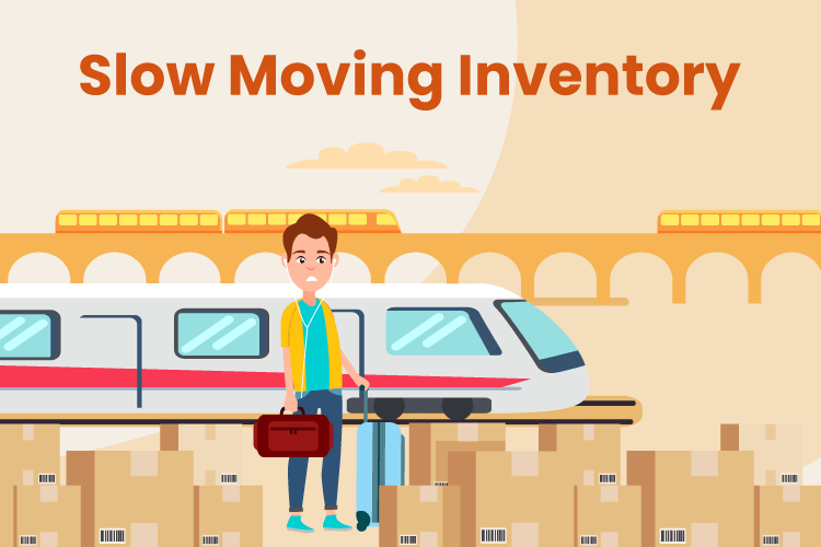 Person stands at train station with boxes of slow moving inventory
