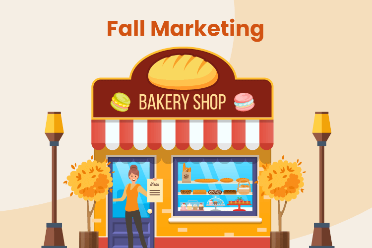 Woman stands outside of her retail store with fall marketing designs around the storefront