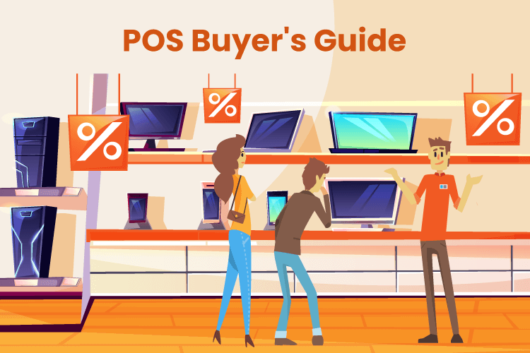 Shoppers gather around POS machines to decide which one to buy