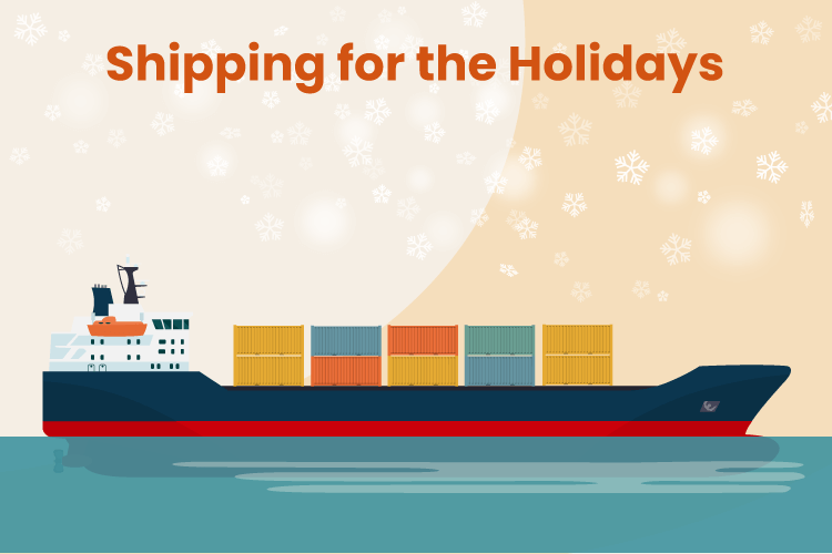Container ship carries holiday packages across the ocean
