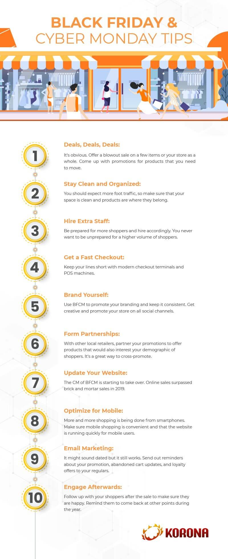 Infograph showing 10 Black Friday Cyber Monday tips for retailers