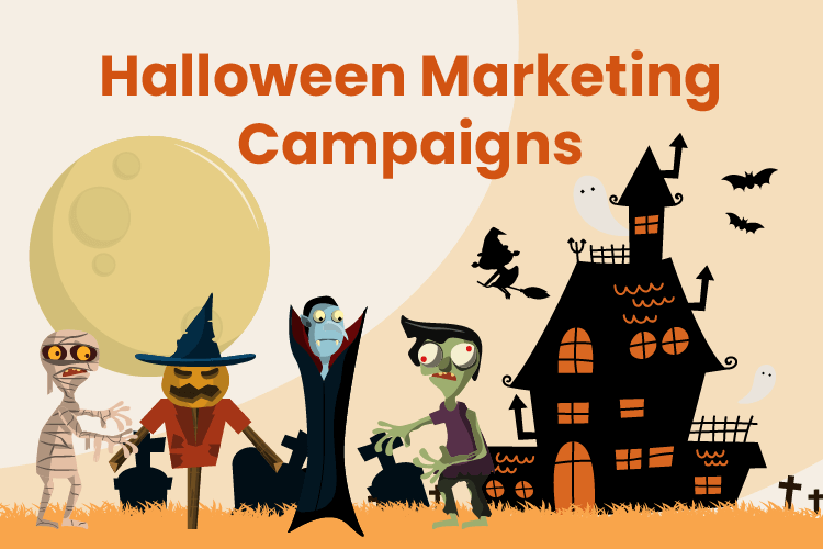 Halloween marketing campaign for retail with a haunted house and costumes