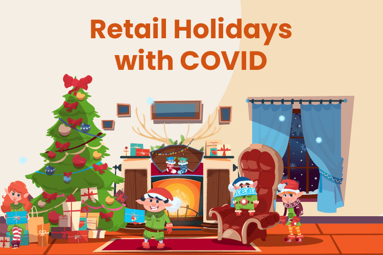 Holiday scene with retailers preparing their store during COVID
