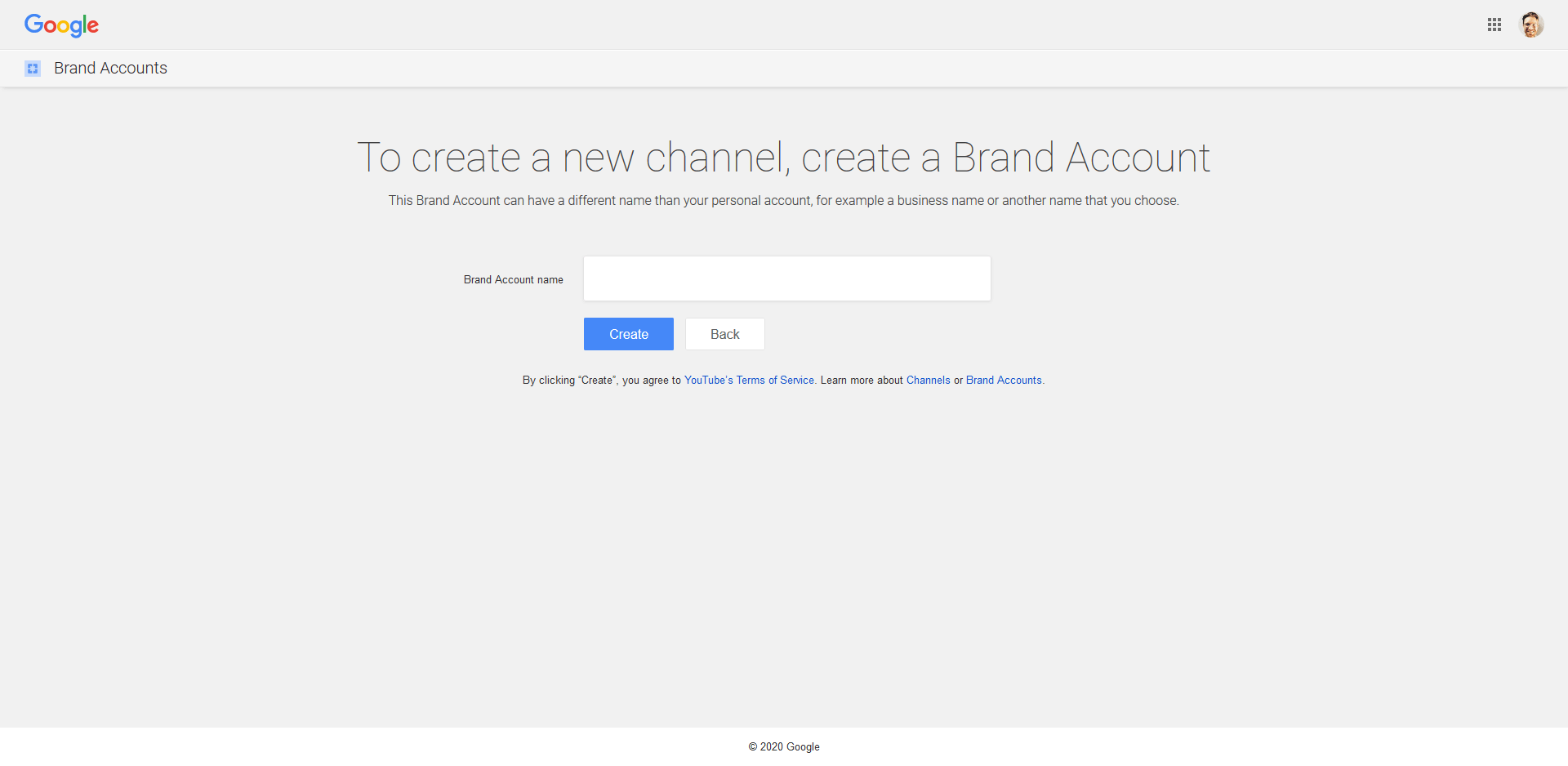 Screenshot of starting a new YouTube channel for businesses