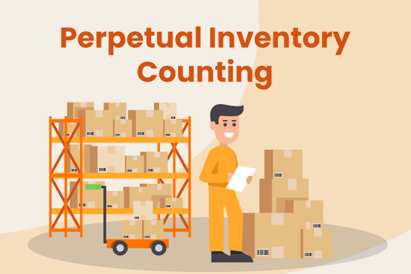 Business owner conduct perpetual inventory count in the warehouse