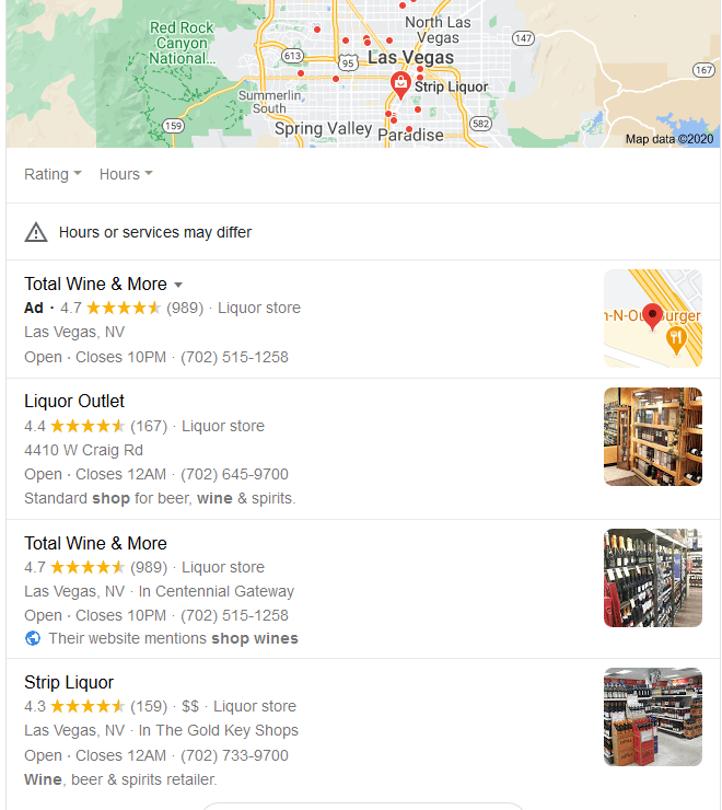 Google Maps search result with 3-pack and ad