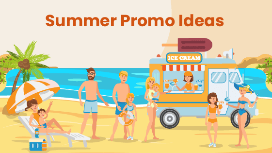 Food truck advertises summer promotions from the beach