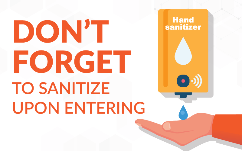 Sign reminding shoppers to use sanitizer when entering and leaving a store