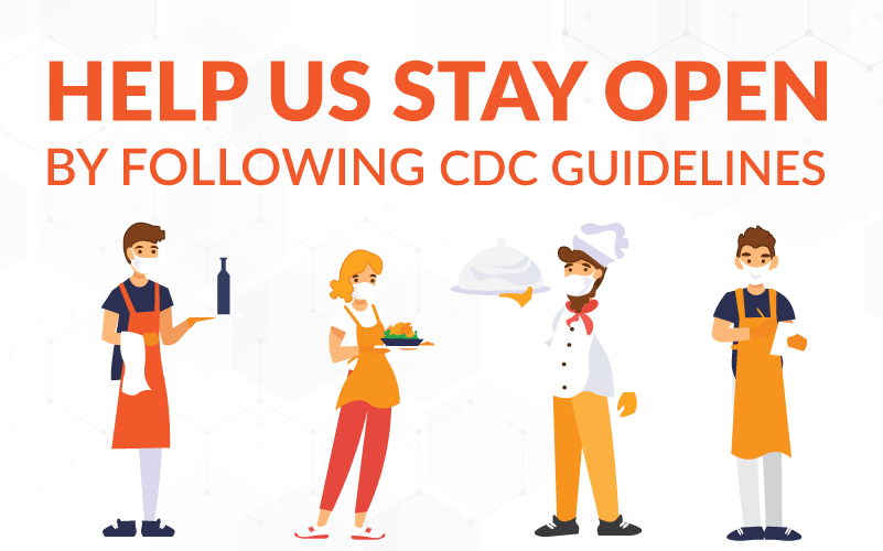 Sign reminding people to continue to follow CDC guidelines