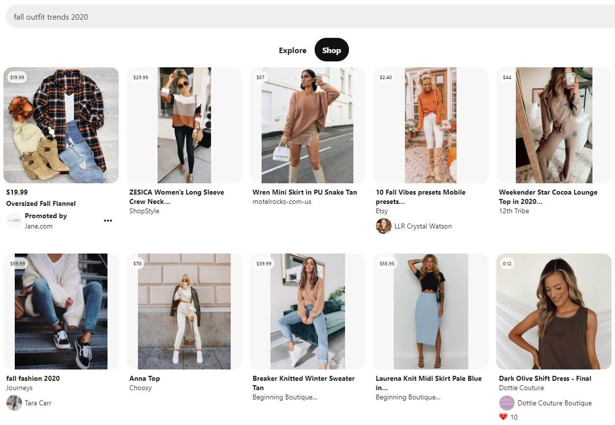search shop tab on pinterest feed
