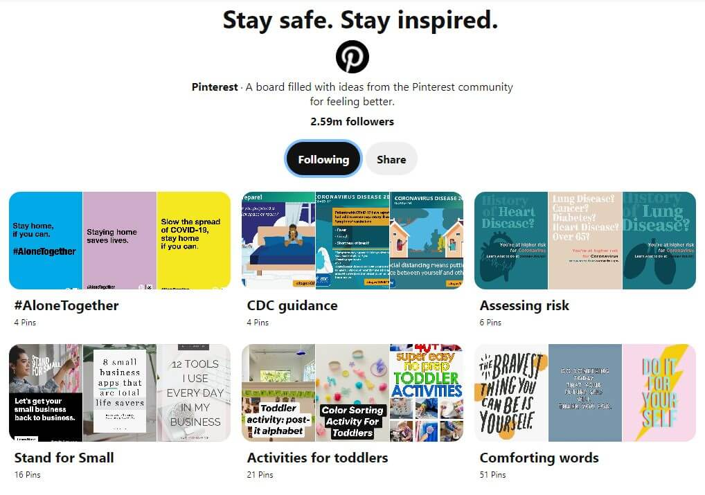 stay safe stay inspired pinterest board