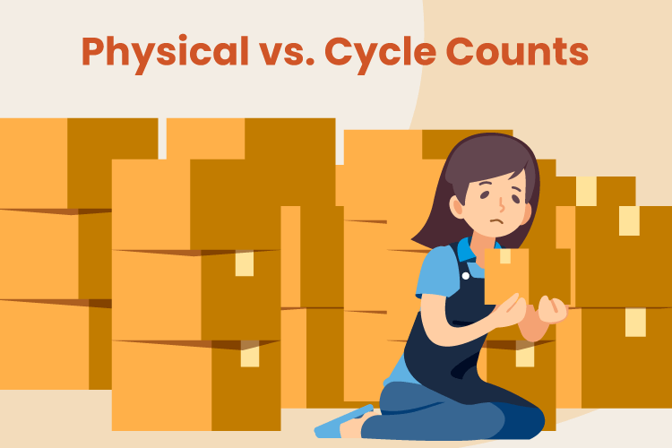 Business owner conducts a physical and cycle count of their inventory in a warehouse