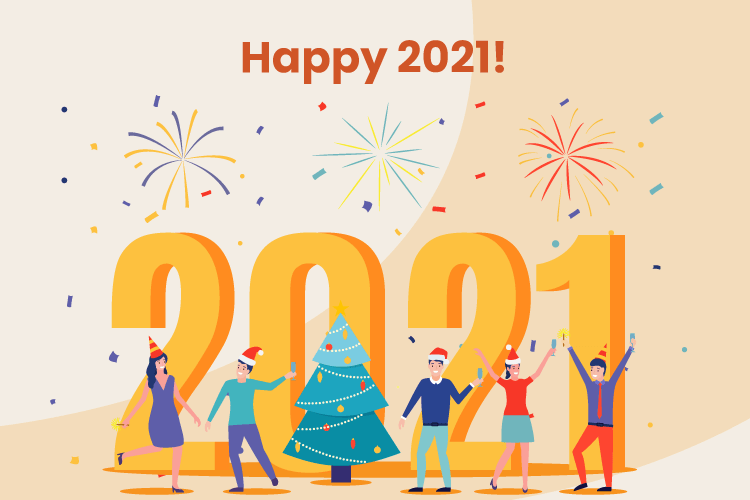 People celebrate the start of 2021