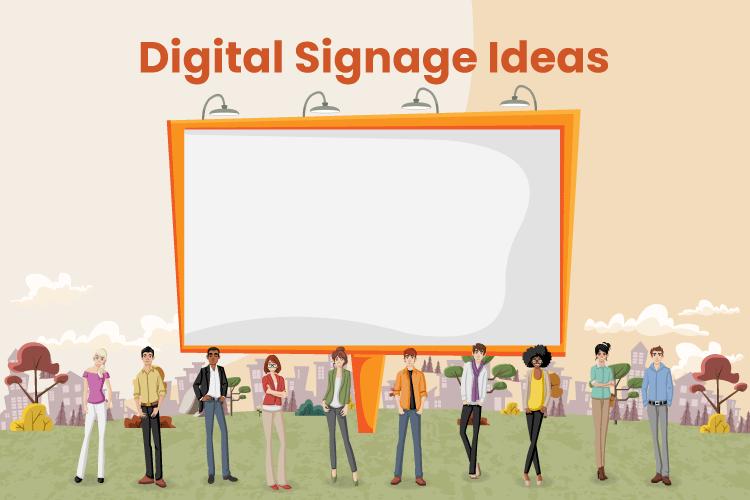 Group of people look at giant digital advertising screen