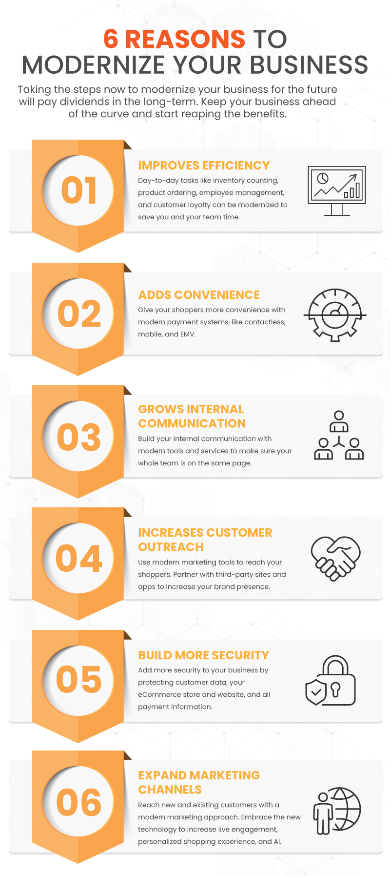 Infographic showing 6 ways that businesses can modernize and stay up with their competition