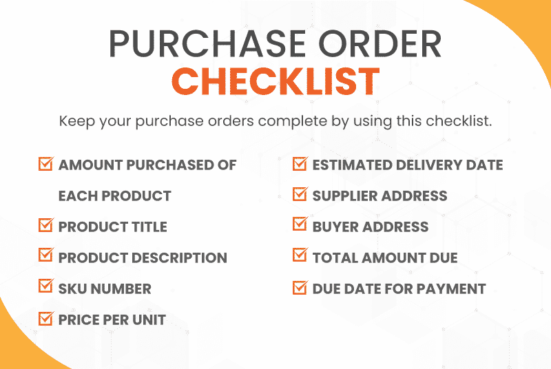 Checklist for what to include when writing a purchase order