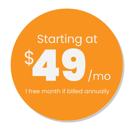 KORONA POS Pricing Sticker Starting at $49/month with 1 free month if billed annually