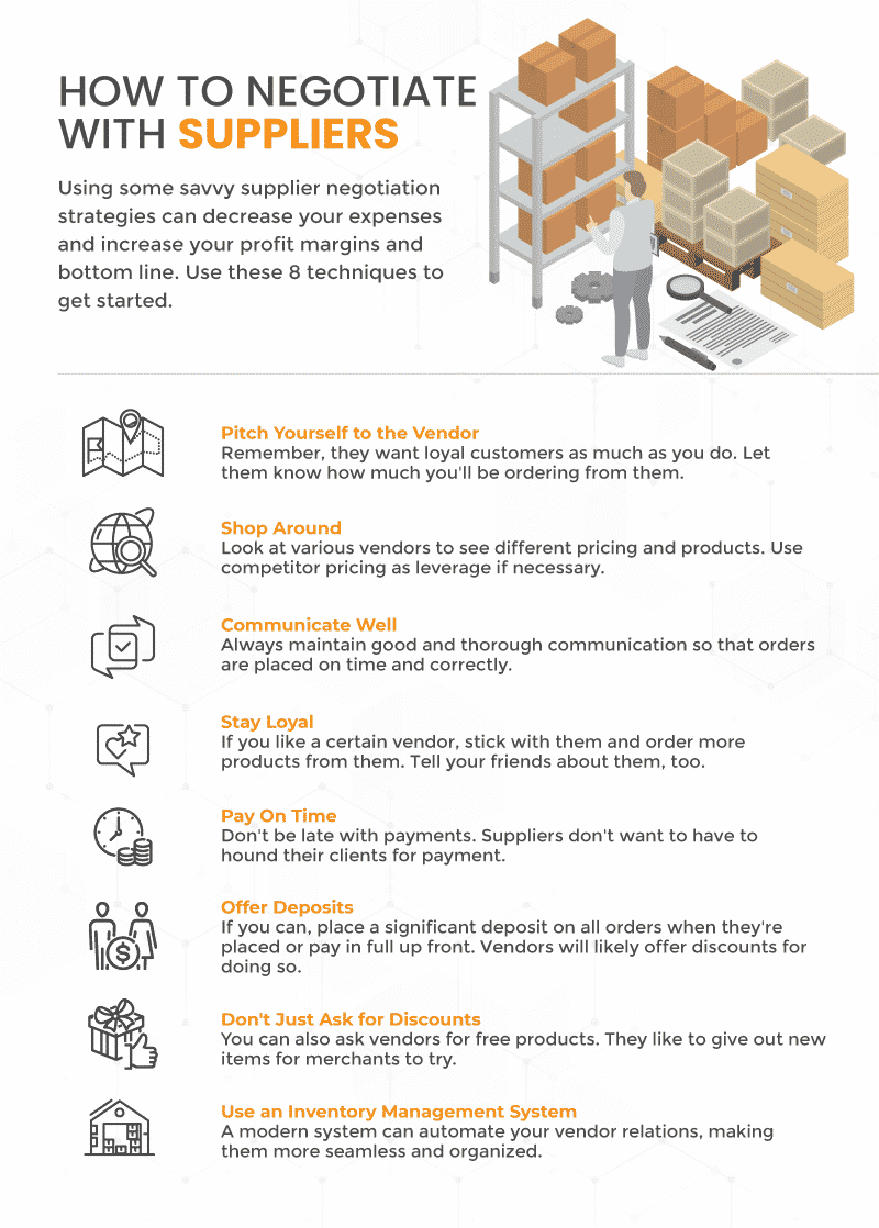 Infograph showing 8 ways that businesses can deal with suppliers and run more efficiently