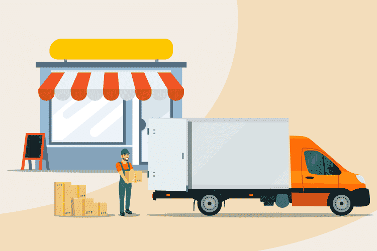 Retail supplier makes a delivery of products to a storefront