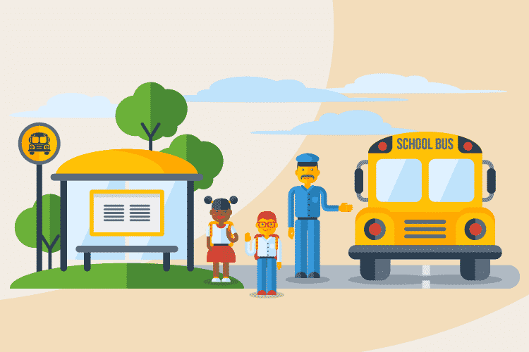 Bus driver helps guide children onto the bus to go to back to school