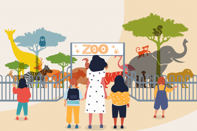 Family enters a zoo to see animals