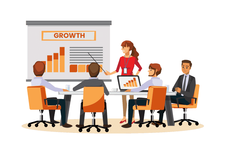 Ways to grow your retail business presented by a person in a meeting