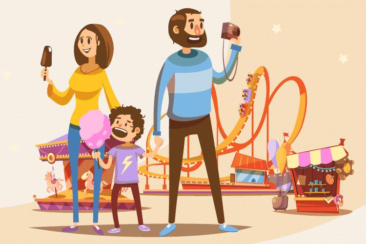 Family visits amusement park after receiving amusement park marketing strategies